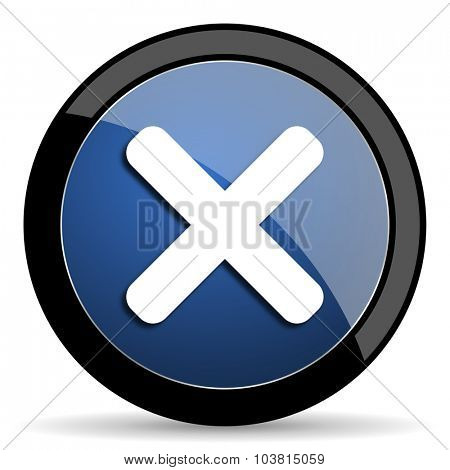 cancel blue circle glossy web icon on white background, round button for internet and mobile app