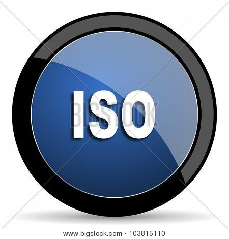 iso blue circle glossy web icon on white background, round button for internet and mobile app