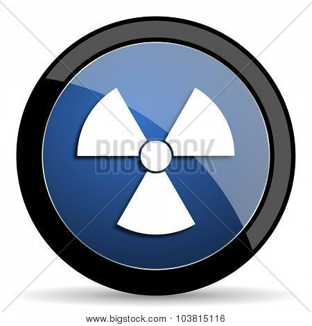 radiation blue circle glossy web icon on white background, round button for internet and mobile app