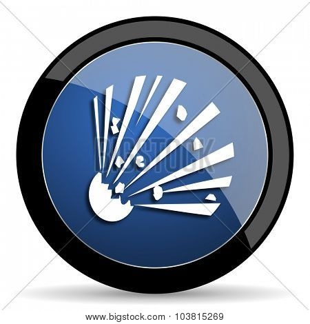 bomb blue circle glossy web icon on white background, round button for internet and mobile app