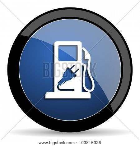 fuel blue circle glossy web icon on white background, round button for internet and mobile app