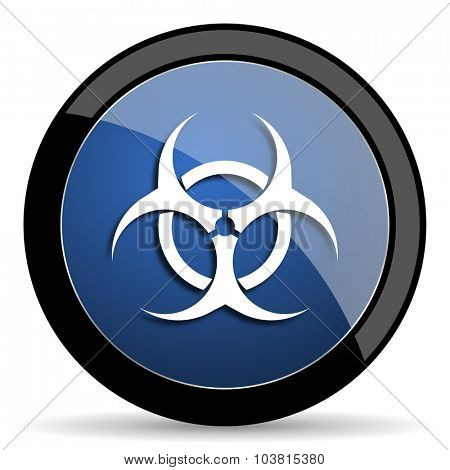 biohazard blue circle glossy web icon on white background, round button for internet and mobile app