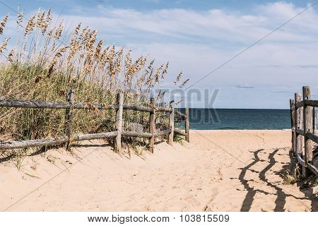 Pathway to Beach with Wooden Fence
