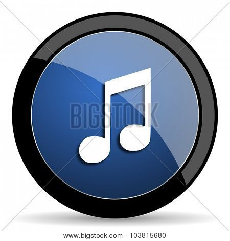music blue circle glossy web icon on white background, round button for internet and mobile app