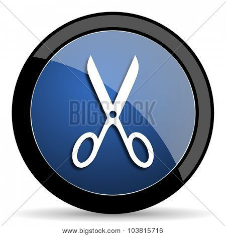 scissors blue circle glossy web icon on white background, round button for internet and mobile app