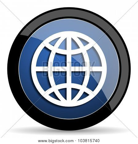 earth blue circle glossy web icon on white background, round button for internet and mobile app