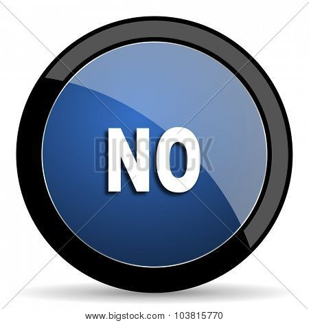 no blue circle glossy web icon on white background, round button for internet and mobile app