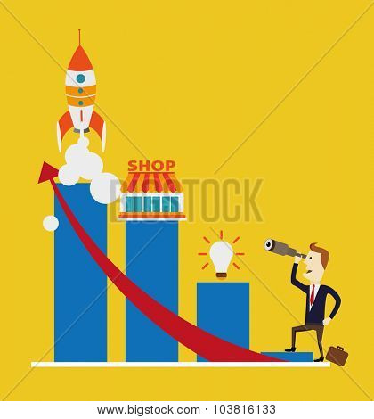 A man standing using telescope to see the graph. Growing business concept.