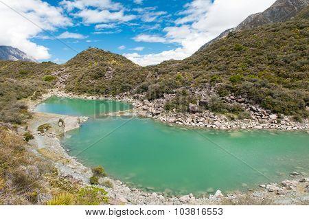 Green lake under the Mount Cook, Aoraki National Park, New Zealand.