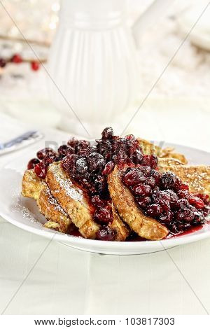 Cranberry Syrup And Powered Sugar Over French Toast