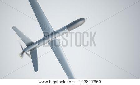 Drone UAV in flight, top view, 3D illustration