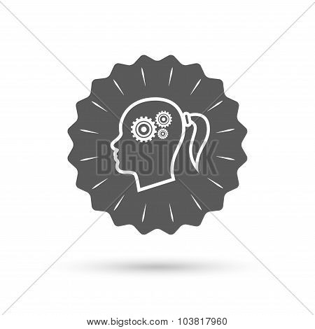 Head with gears sign icon. Female woman head