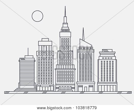 Business center of big city broadway street skyscrapers megapolis buildings concept real estate arch
