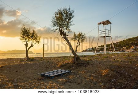 Volleyball Tower And Net On Sandy Beach