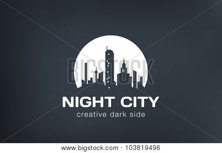 Night city silhouette on Moon Logo design vector template.
