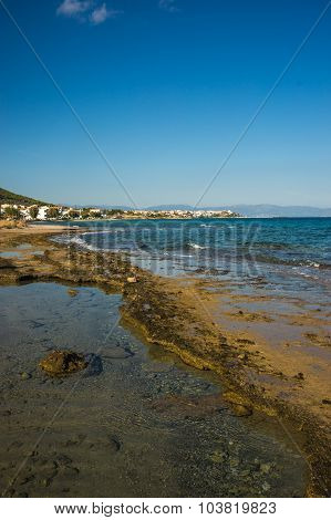 Seafront And The Beach Near  Town Of Scala, Agistri Island,  Greece
