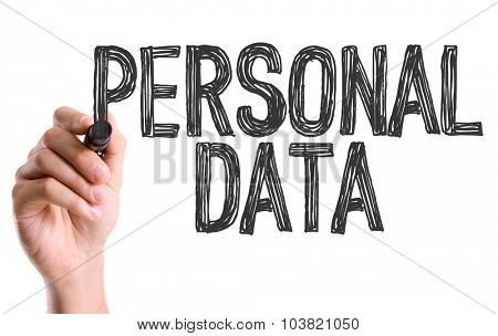 Hand with marker writing: Personal Data