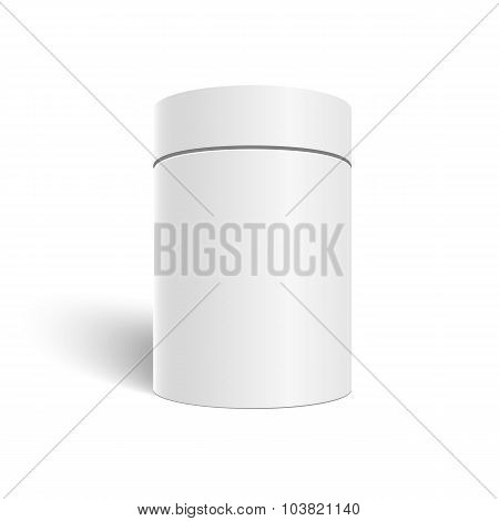 White 3D Vector Cylinder Isolated on White Background. Tea Cofee