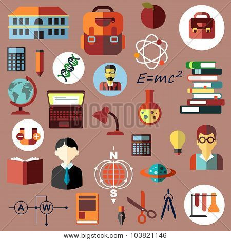 Education, school and science flat icons