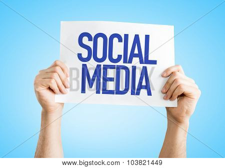 Social Media placard with blue background