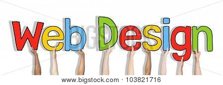 Diverse Hands Holding the Words Web Design