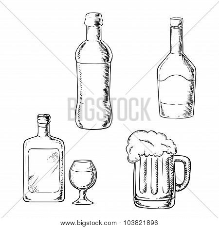 Bottles of wine, liquor, whiskey and beer