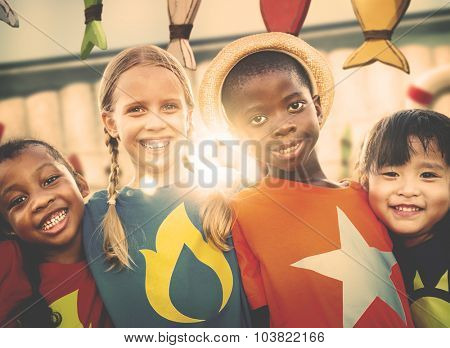 Diversity Children Smiling Summer Happy Leisure Concept