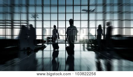Back Lit Business People Traveling Airport Concept
