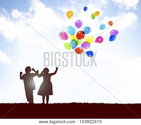 Children Balloon Childhood Fun Playing Concept