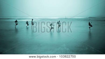 Traditional Stilt Fishermen Sri Lanka Over Water Concept