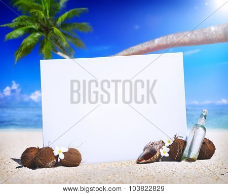 Paradise Beach Display Copy Space Message Blank Concept