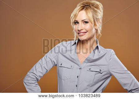 Closeup portrait of cute young business woman