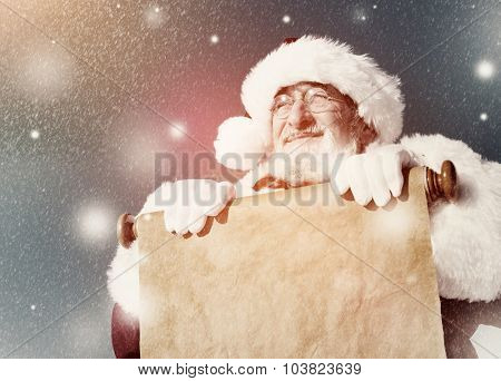 Traditional Santa Claus Paper Scroll Christmas Sign Concept