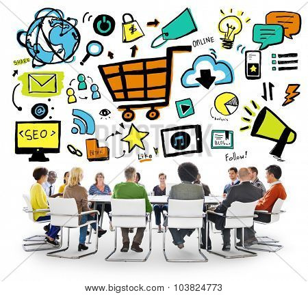 Diversity Casual People Online Marketing Meeting Discussion Concept