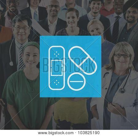 First Aid Kit Medicine Plaster Bandage Symbol Treat Concept