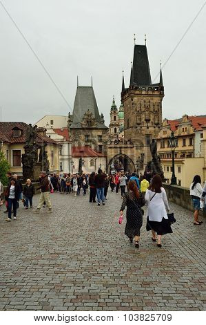 PRAGUE, CZECH REPUBLIC - AUGUST 18, 2015: people on streets of Prague. Prague is the capital and largest city of the Czech Republic. It is the 15th largest city in the European Union.