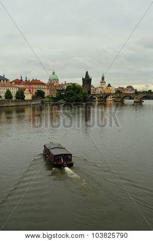 PRAGUE, CZECH REPUBLIC - AUGUST 18, 2015: view on Vltava river. The Vltava is the longest river within the Czech Republic