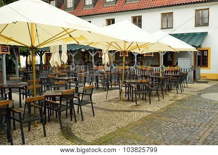 PRAGUE, CZECH REPUBLIC - AUGUST 18, 2015: streets cafe in Prague. Prague is the capital and largest city of the Czech Republic. It is the 15th largest city in the European Union.