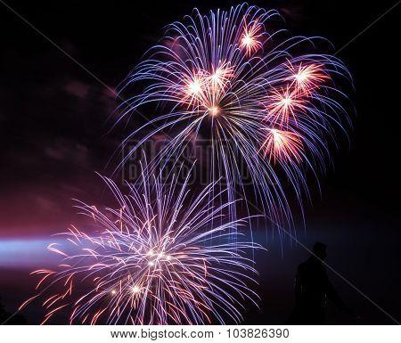 Fireworks and Spotlight in Dark Sky