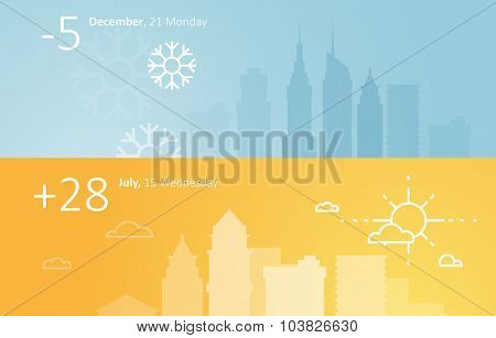 Weather widgets template winter and summer in city.
