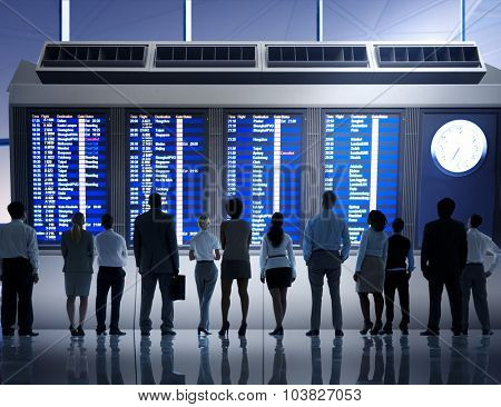Business People Airport Business Flight Waiting Concept