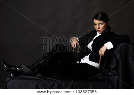 Beautiful Young Woman With Cigare