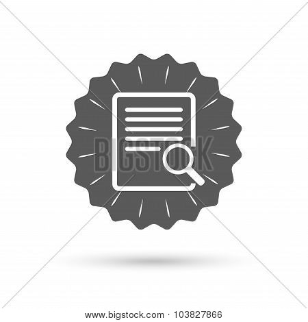 Search in file sign icon. Find in document.