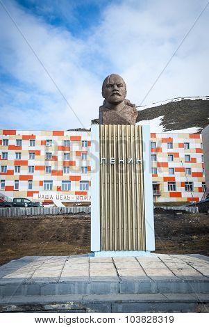 Lennin Statue In Barentsburg, Svalbard