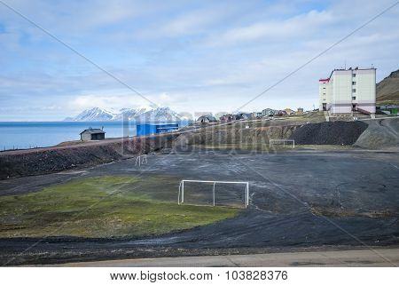 Football Field In Barentsburg, Svalbard
