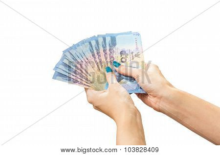 Thai Banknote Money In Female Hand, Isolated On White Background