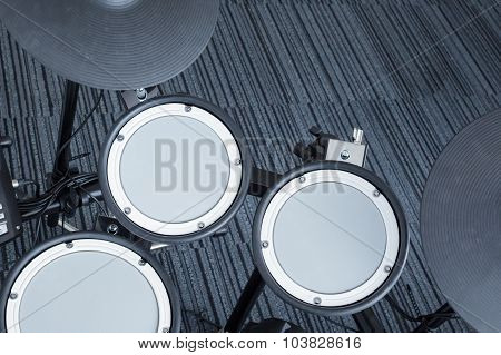 Electronic Drum Set In The Room Corner As Musical Background Technology Theme, Top View