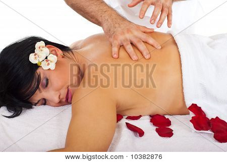 Woman Enjoying A Spa Massage