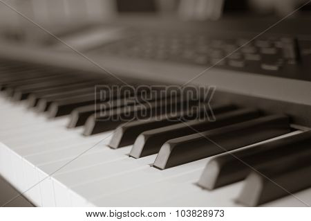 Abstract Blur Of Piano Keyboard Synthesizer Closeup Key Frontal View, Vintage Theme