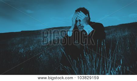 Lonely businessman depressed about life Stress Concept
